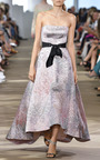 Printed Jacquard Strapless Gown by MONIQUE LHUILLIER for Preorder on Moda Operandi