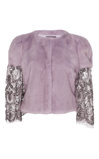 Medium monique lhuillier purple metallic mink jacket with beaded sleeves