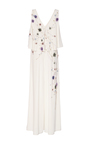 Embroidered V Neck Jumpsuit  by MONIQUE LHUILLIER for Preorder on Moda Operandi