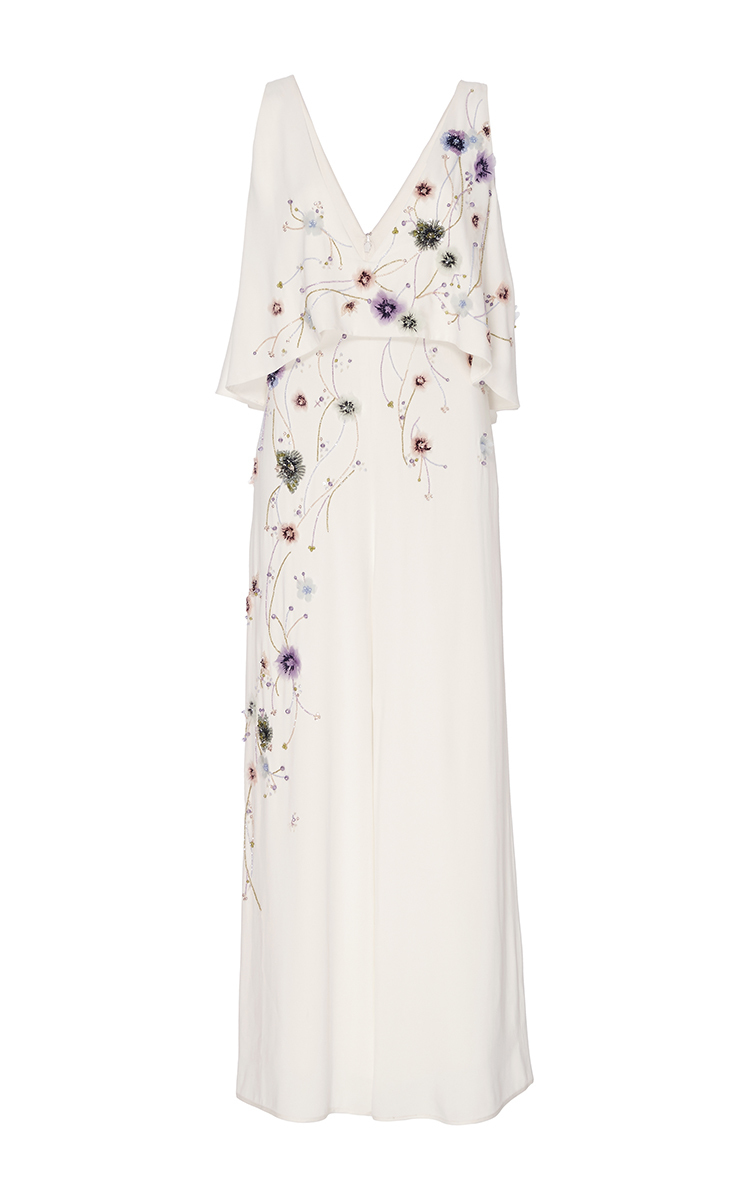 5b6dee07ef7 Embroidered V-neck Jumpsuit by Monique Lhuillier