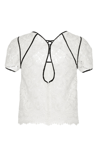 Guipure Lace Short Sleeve Top by MONIQUE LHUILLIER for Preorder on Moda Operandi