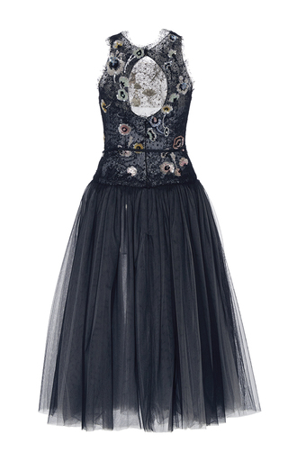 Floral Embroidered Cocktail Dress by MONIQUE LHUILLIER for Preorder on Moda Operandi
