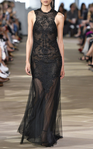 Embroidered Geometric Tile Halter Gown  by MONIQUE LHUILLIER for Preorder on Moda Operandi