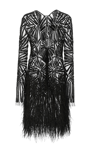 Deco Embroidered Cocktail Dress by MONIQUE LHUILLIER for Preorder on Moda Operandi