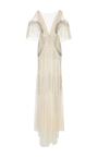Embroidered V Neck Deco Gown by MONIQUE LHUILLIER for Preorder on Moda Operandi