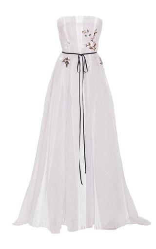 Medium monique lhuillier white seersucker organza strapless gown