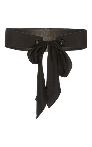 Medium monique lhuillier black high waisted belt with silk tie