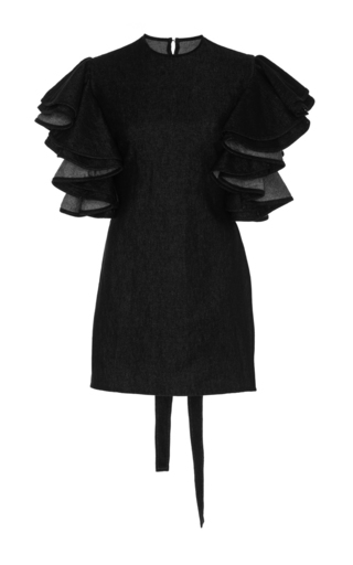 Medium beaufille dark wash beta ruffled denim blouse