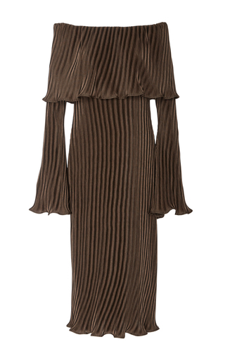 Medium beaufille brown andura pleated off the shoulder dress