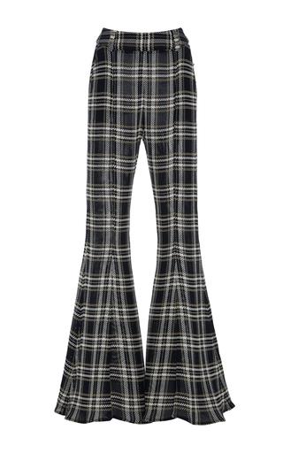 Medium beaufille plaid navi flared plaid trousers