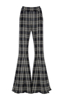 Navi Flared Plaid Trousers by BEAUFILLE for Preorder on Moda Operandi