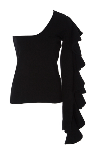Medium beaufille black electra ruffled single sleeve top
