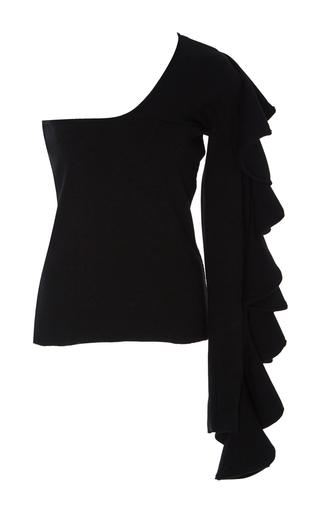 Medium beaufille black electra ruffled single sleeve top