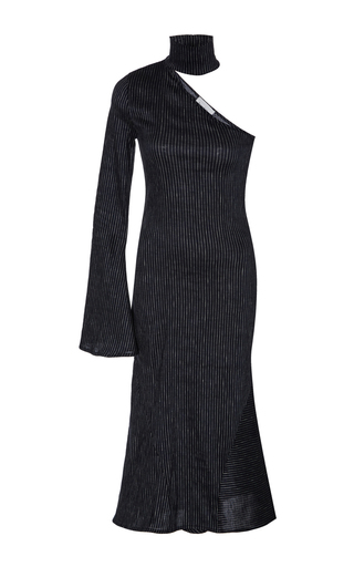 Medium beaufille navy hydrus single sleeve pinstripe dress