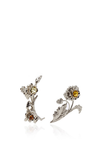 Bright Nickel Floral Ear Cuffs by RODARTE for Preorder on Moda Operandi