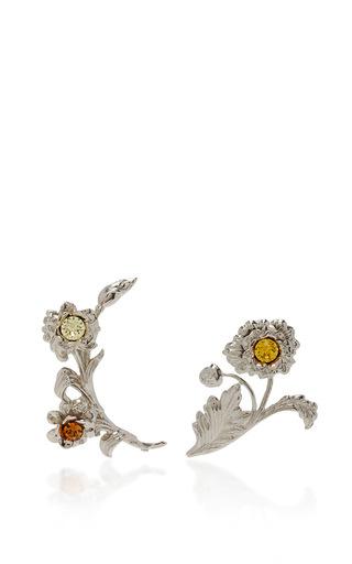 Medium rodarte silver bright nickel floral ear cuffs