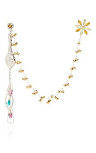 Medium rodarte silver drop and stud earring set with drapery
