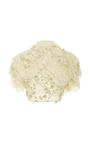 Pale Yellow Pearl Embellished Cropped Ruffle Blouse by RODARTE for Preorder on Moda Operandi