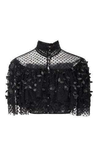 Medium rodarte black polka dot tulle high neck cropped blouse
