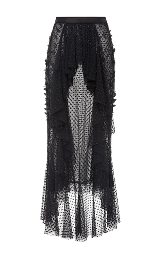 Black Pearl Embellished Cropped Ruffle Blouse by RODARTE for Preorder on Moda Operandi