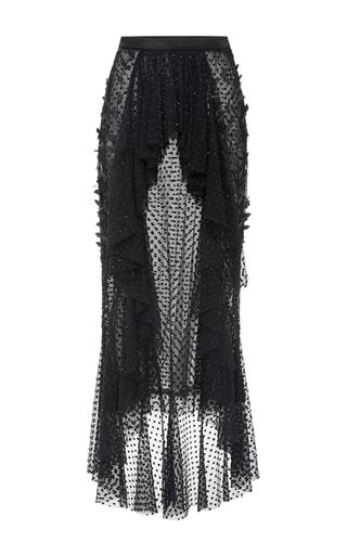 Medium rodarte black black pearl embellished cropped ruffle blouse