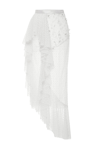 Medium rodarte off white off white side ruffle polka dot tulle skirt
