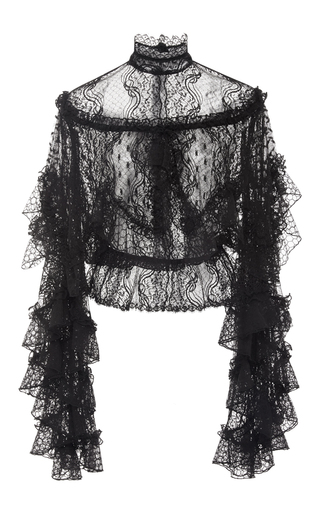 Black Lace And Honeycomb Tiered Ruffle Blouse  by RODARTE for Preorder on Moda Operandi