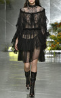 Black Lace And Honeycomb Tiered Wrap Skirt by RODARTE for Preorder on Moda Operandi