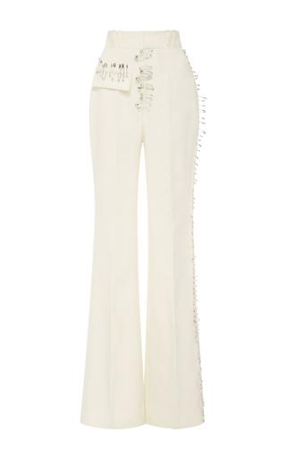 Medium rodarte ivory ivory safety pin embellished trousers