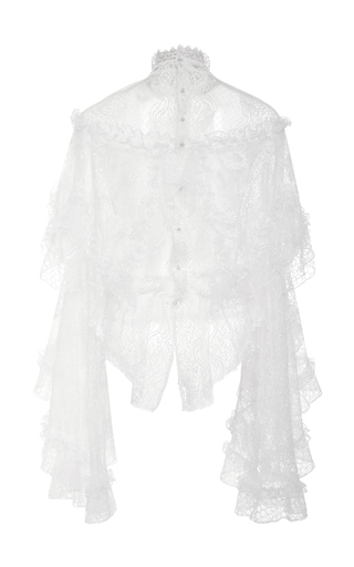 Off White Lace And Honeycomb Tiered Ruffle Blouse by RODARTE for Preorder on Moda Operandi