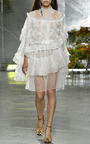 Off White Lace And Honeycomb Tiered Wrap Skirt by RODARTE for Preorder on Moda Operandi