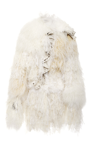Medium rodarte white shearling and chiffon coat