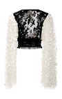 Black And White Floral Deep V Neck Blouse by RODARTE for Preorder on Moda Operandi