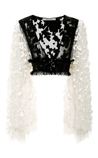 Medium rodarte black black and white floral deep v neck blouse