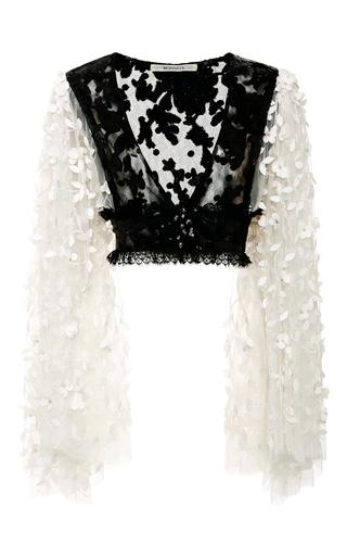 Medium rodarte black black and white floral deep v neck blouse