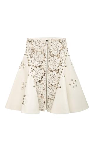 Off White Laser Cut Leather Studded A Line Skirt  by RODARTE for Preorder on Moda Operandi