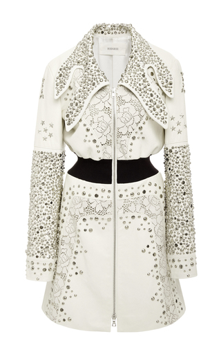 White Lasercut And Studded Leather Jacket by RODARTE for Preorder on Moda Operandi
