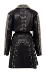 Black Lasercut And Studded Leather Jacket by RODARTE for Preorder on Moda Operandi