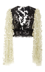 Black And Pale Yellow Floral Deep V Neck Blouse by RODARTE for Preorder on Moda Operandi