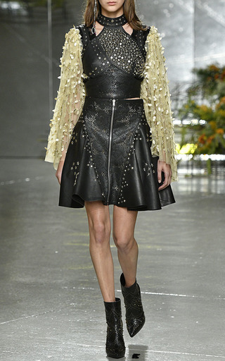 Black Laser Cut Leather Top by RODARTE for Preorder on Moda Operandi