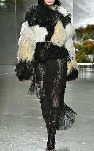Off White Shearling And Chiffon Jacket by RODARTE for Preorder on Moda Operandi