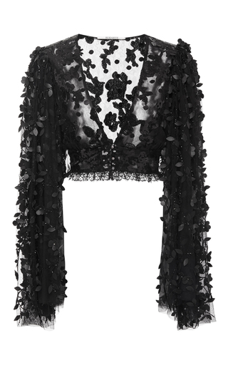 Medium rodarte black black floral deep v neck blouse
