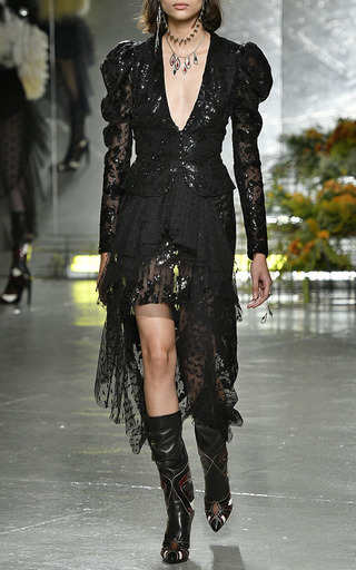 Black Sequin And Lace Fitted Jacket by RODARTE for Preorder on Moda Operandi