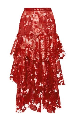 Medium rodarte red sequin and lace tiered skirt