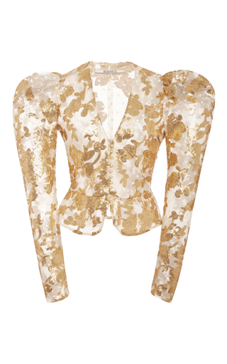 Medium rodarte gold gold sequin and lace fitted jacket
