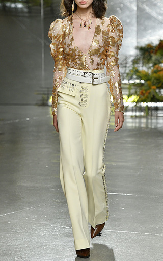 Pale Yellow Safety Pin Embellished Trousers by RODARTE for Preorder on Moda Operandi