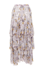 Hand Beaded Daisy Silk Tiered Skirt by RODARTE for Preorder on Moda Operandi