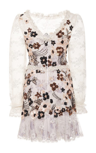 Hand Beaded Daisy Lace And Chiffon Dress by RODARTE for Preorder on Moda Operandi