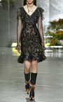 Black Sequin Long Sleeve Ruffle Dress by RODARTE for Preorder on Moda Operandi