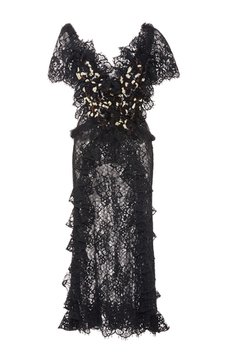 Black Hand Embroidered Honeycomb Tulle Dress by RODARTE for Preorder on Moda Operandi